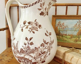 Antique Ironstone Pitcher Brown Transferware Aesthetic Pitcher, Floral, Birds Fans, and Shape