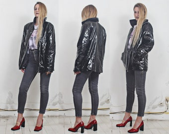 90s black patent latex pvc raincoat jacket