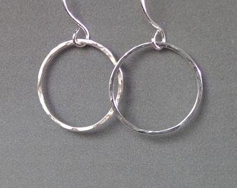 Sterling Silver Karma circle earrings