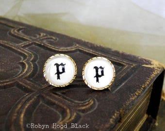 Letter P earrings - Vintage Stamped Letterpress Letters in Vintage Goldtone Posts - Olde English, Gothic