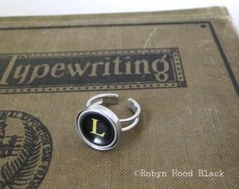Typewriter Key Vintage Letter L Ring