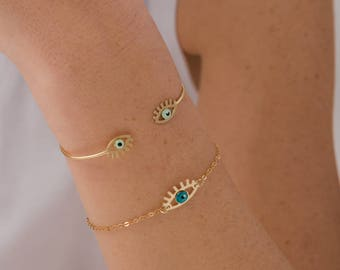 goldfill evil eye bracelet with a touch of enamel - goldfill chain - protection bracelet - tiny evil eye bracelet