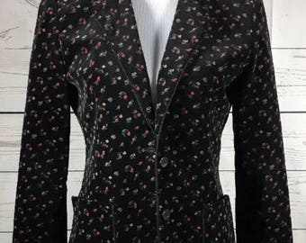 Vintage Patty Woodard Small/Medium Black Floral Print Velour Blazer