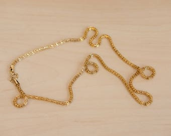 Vintage Gold Tone Dainty Chain Link Necklace