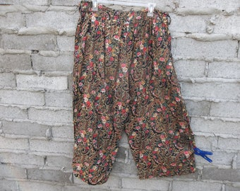 Vintage Pants Harem India  Ditzy Floral Hippie Grunge Winona Ryder 90s Uk Garden Large Baroque Paisley Festival Coachella Street Chic