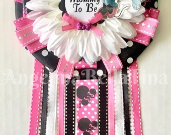 NEW Minnie Mouse Mommy To Be Corsage- pink/black/white