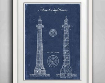Lighthouse Print, Amédée Lighthouse, Architectural drawing, , Lighthouse Wall Art, Kid Room Decor, Nautical Poster, New Caledonia