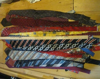 Mens Ties for Crafting-Silk Ties-Polyester Ties-Ties for Repurposing-Tie Pillow Fabric-Tie Chair Seats