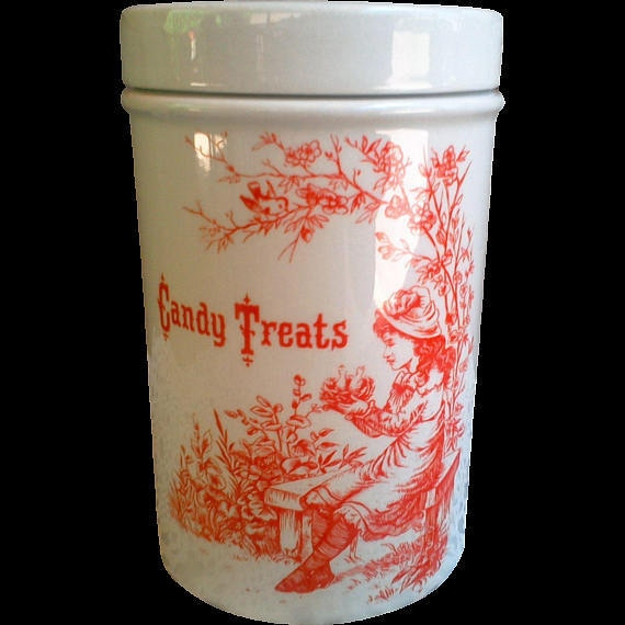 Vintage Halloween Candy Treats Jar Orange Transferware housewaming gift holiday gift gifts for her gifts for him halloween gift halloween