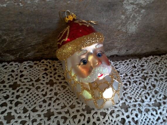 Santa Head Large Tree Ornament, Christopher Radko, Glass Santa Head, Holiday Ornament