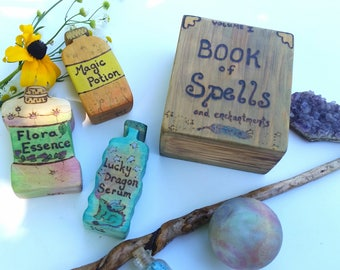 Wizarding collection with Spell Book, Crystal Ball, Three Potion Bottles, Wizard Toy, Wooden Magic Toy, Pretend Witch and Wizard, Potions