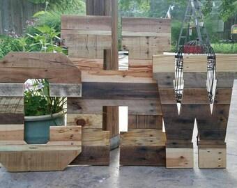 "Pallet wood monogram, huge wooden letters, giant wood letters, 24"" and 32"" wood letters, rustic wedding decor, rustic home decor, custom"