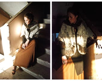 """Eco and Boho fashion wool felted fur cape from natural silk and A-Grade merino lamb wool (with bronze furniture) """"Sparrow"""" OOAK"""