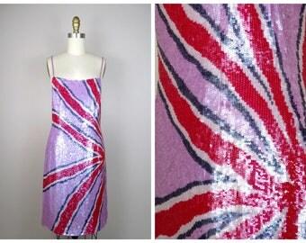 VTG Inspired Funky Sequin Dress // Starburst Sequined Mini Dress // Retro Fully Embellished Dress S/M