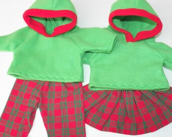 Matching Bitty Baby Clothes, Christmas Hoodies- Green, red plaid pants and skirt, 4 pc outfit- handmade by adorabledolldesigns- hooded shirt