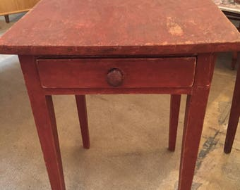 Primitive Work Table Original Red Paint