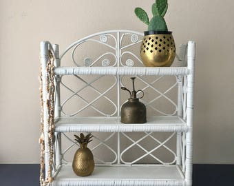 vintage white wicker wall shelf woven boho decor display shelf