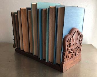 vintage carved wood bookends expanding sliding boho chic