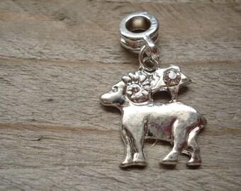 Rhinestone silver Aries Zodiac pendant