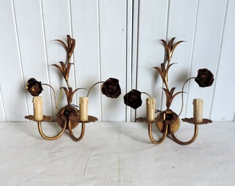 A pair of vintage Venetian church tole ware sconces, brass gilt wall light, vintage french retro home decor, with bulrushes and roses