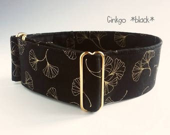"""black and gold dog collar """"Ginkgo"""", brass hardware, martingale, side release or ID tag collar; wide 1""""- 2"""", size XS- XL, greyhound collar"""