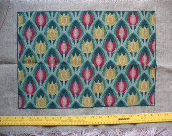 Vintage Tulips Flowers Needlepoint Petit Point  Completed Wool Linen Canvas Danish Denmark 1960s Ready to Finish