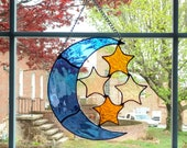 Moon and Stars Stained Glass Suncatcher, Celestial Decor, Stained Glass Moon, Housewarming Gift