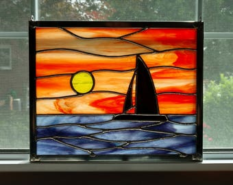 Sailboat Sunset Stained Glass Window Panel, Ocean Sunset, Seascape, Beach Decor, Coastal Decor, Nautical Decor, Orange, Boat Lover Gift