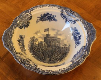 """Johnson Brothers """"Old Britain Castles"""" Blue and White Ironstone Transferware - Round Vegetable Serving Bowl"""