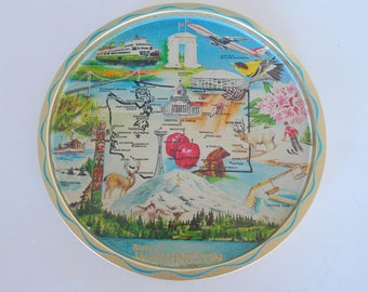 Vintage State Metal Tray - Washington 1950s Unites States Tray Mid Century Modern Serving Plate