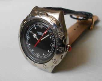 "Swiss watch ""Swatch"" ,Vintage watch ,Mens watch ,Swatch Watch, lack white watch, watch men"