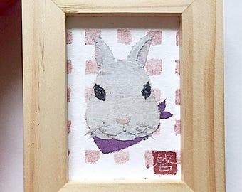 Dwarf Rabbit Art, Bunny Decor, Bunny Gifts, ACEO Original