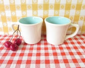 RESERVED FOR CHERYL Genuine Taylor Mug - Coffee Cups - Set of 2 -  Turquoise Inside - Ceramic Mugs -  Vintage 1960's