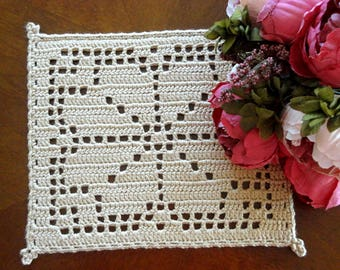 Placemat Crochet Table linens Crochet Doilies Tablecloth Crochet Square Placemat Cotton Table  Home Decor Placemats