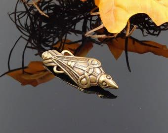Viking bird brooch / Raven brooche / raven fibula / garment buckle / clasp coat / Medieval fibula / Bronze