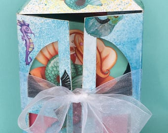 The Mermaid House-mermaid doll in her house-two little dolls in decorated gift boxes- under the sea creatures-sea colours-mermaid gift box