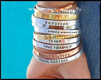 """Hand Stamped CUFF Bracelet - CUSTOMIZED Aluminum Copper NuGold PERSONALIZED Inside Secret Message GPs Coordinates Bangle Jewelry 1/4"""" Wide"""