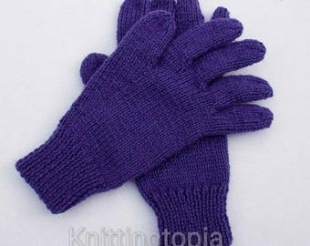 Hand knitted children's gloves in purple - winter gloves - full fingered gloves - classic gloves - winter accessories