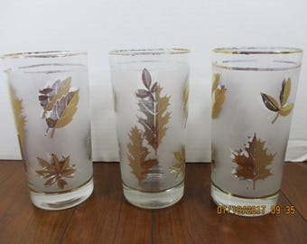 3 Vintage Libbey Gold Leaf Frosted High Ball Glasses