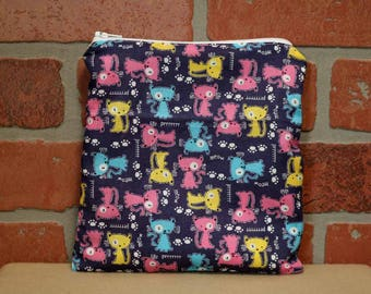 One Sandwich Bag, Reusable Lunch Bags, Waste-Free Lunch, Machine Washable, Cats, Sandwich Sacks, item #SS76