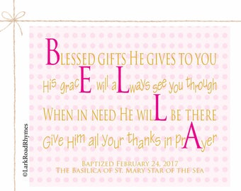 Baptism Gifts For Godchild Prayer Wall Art Religious Decor Christening Gifts Baby Baptism Gift Printable Personalized Poem 8x10 Bella