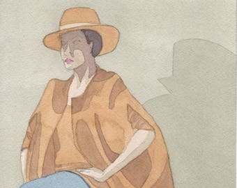 Woman in Hat Watercolor Painting One of a Kind