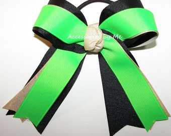 Gymnastics Bow, Green Black Gold Clip, Sparkly Neon Gymnastic Glitter Ribbons, Gymnast Hair Ties Elastics, Dance Cheer Bow, Bulk Cheap Price