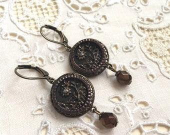 Art Nouveau Antique Button Earrings Dangle lever back Antique Brass Bronze Czech Bradd