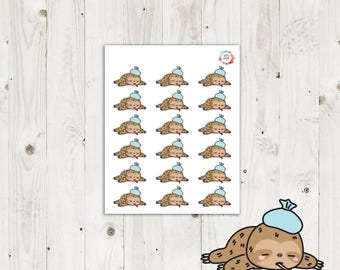 Lazy Sloth Sick Day Planner Stickers - ECLP Stickers