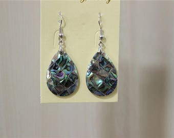 a pair of beautiful abalone Pearl Earring drop sequin domed mosaic top quality