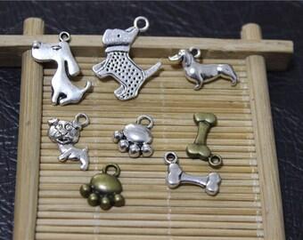 24 dog theme metal pendant charms
