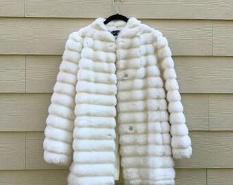 Vintage White Faux Fur Coat 7/8 M/L