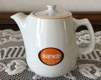 Vintage Sanka Instant Decaf Coffee Pot with Lid and famous Sanka Brand Logo on each side