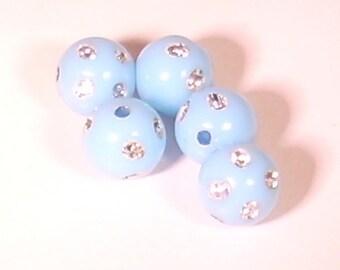 10 Pearl acrylic rhinestone round sky blue 10mm